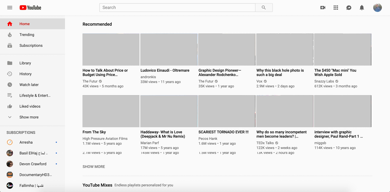 Дизайн Youtube