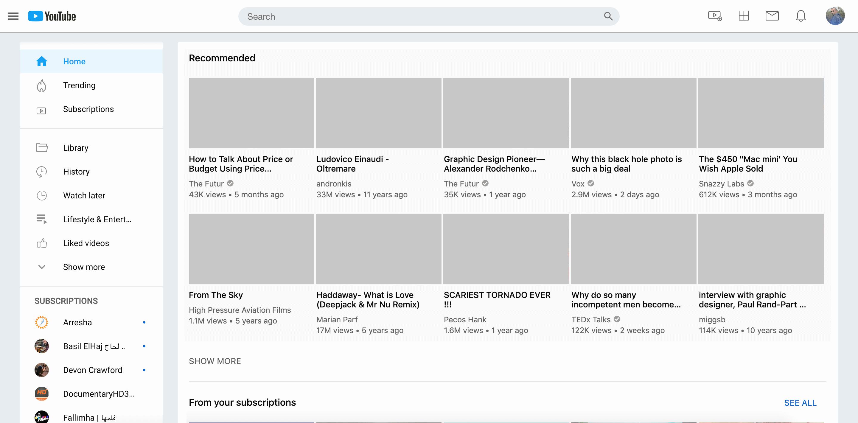 Дизайн Youtube в стиле Twitter